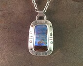 Koroit Opal Cabochon Rustic Western Sterling Silver Metalwork Necklace Pendant