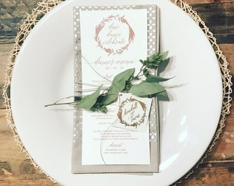 Gia Wedding Menu Card (pictured in ivory and rose gold)