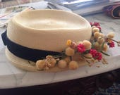 Vintage Hat Straw Look Black Velvet Ribbon Millinery Flowers