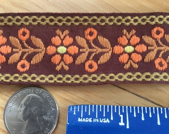 1 1/2 yards  Vintage 70's Burnt Orange Floral Jacquard Ribbon Trim.  1 1/4 inches wide.  Costume/dress/sewing/lace/bridal
