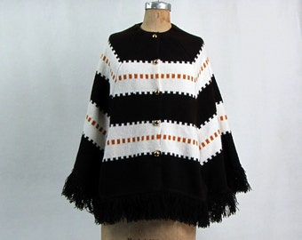 Vintage 1960s Wool Knit Poncho Brown and White Gold Buttons