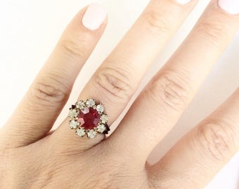 Elegant Rhinestone ring with red jewel antiqued silver tone delicate vintage cocktail ring  handmade adjustable size
