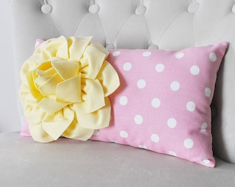 Yellow Pillow, Pillow Cover, Yellow and Pink Pillow Cover, Decorative Pillow, Throw Pillow, Nursery, Yellow Throw Pillow, Pillow, Bed Pillow