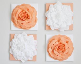 Vintage Inspired Peach Flower Wall, Set of 4, Canvas Wall Set, Peach Flower Art, Peach Home Decor, Floral, Wall Art, Wall Garden Home Decor