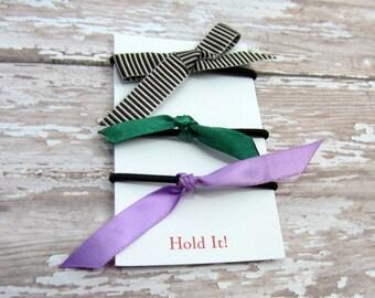 Brown Green & Purple Ponytail Bow Elastic, Girls Ponytail Elastic, Bow Ponytail Holder, Womens Pontail Holder,  Hair Tie, Set of 3