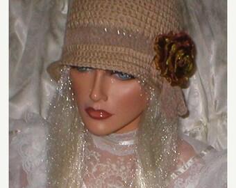 35% OFF SALE Crochet Women Beige Taupe Suede Organza Rose 1920's Cloche Flapper Hat
