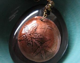 Stone pendant necklace | small starfish | copper pendant | nautical | ocean