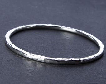 Rustic Elegance: Choose 8 or 10 Gauge Hammered Silver Bangle. Choice of Round or Oval. Custom Jewelry Eco Friendly Argentium Sterling Silver