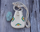 Beaded leather medicine bag ,  Small beaded pouch , Beaded necklace bag  leather bag , Leather pouches