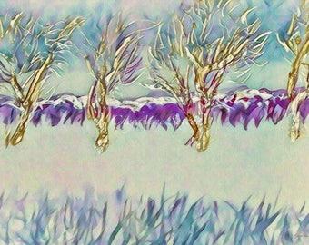 Tree art Row of Winter Trees Springtime Movement Spring feel Bright windblown Bold romantic purple gold fun fancy Fine Art Giclee Print 8x12