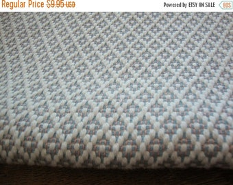 """2016 SALE 53"""" Wide Cotton Cream and Blue Diamond Fabric for Upholstery Drapery Curtains Sewing Pillow Cushions Headboard Home Decorator Fabr"""