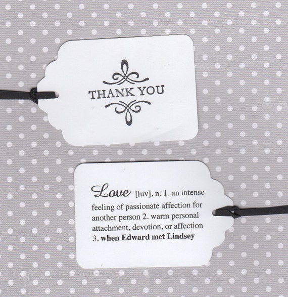 100 Thank You Wedding Favor Tags, Love Definition Tags For Favors, Personalized Double Sided Wedding Bridal Shower Favor Tags