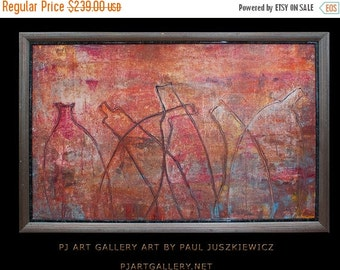 "17% OFF /ONE WEEK Only/ Framed Modern Contemporary Abstract ""The Bottles"" 38""x26"" by Paul Juszkiewicz"