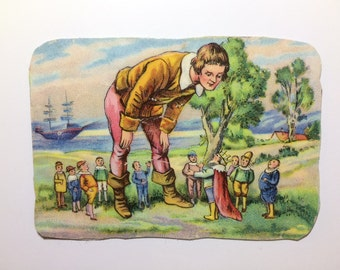 Magnet with upcycled scrap illustrations, Gulliver's Travels