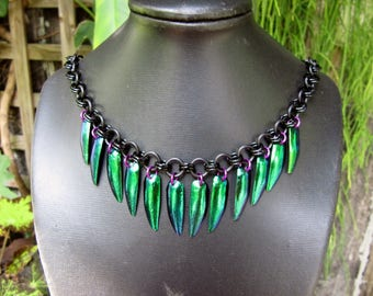 Beetle Wing Necklace in Green, Black and Violet