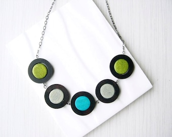 Wood Necklace, Grey, Modern Geometric Jewelry, 5th Anniversary Gift, Teal, Olive Green, Statement, Ebony, Nickel Free Sterling Silver