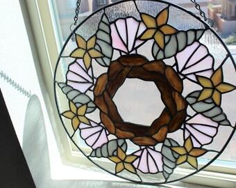 STAINED GLASS WINDOW-Seashell Mandala Wreath, Seashell Decor, Nautical Home Decor, Beach Decor, Large Round Stained Glass Window Panel Beach