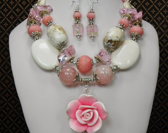Chunky Cowgirl Statement Necklace / Pink Chunky Necklace / Floral Chunky Necklace / Rose Valentine Necklace / Western  - Valentine Rose