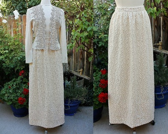 1970's Maxi Skirt Lace Off White Ecru Ivory Lined A-Line Vintage Retro 70s Hipster Small Medium