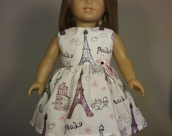 18 inch Doll Clothes Pink Silver Paris Print Dress will fit American Girl Doll Clothes Handmade