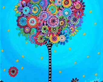 Folk Art Pristine Whimsical Tree of Life LOVE Flowers Florals Prisarts Original Painting 11 X 14
