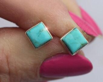 Desert Sky - Turquoise Sterling Silver Stud Earrings