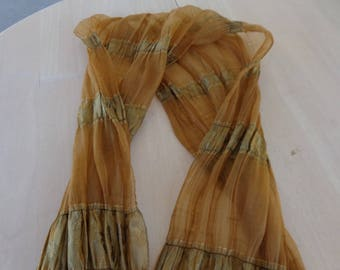 Scarf - Softly ruffled Light Brown and gold long scarf or shawl.  Sixe is 14 x 68 inches long