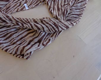 Scarf - Zebra stripe infinity scarf 62 inches by 19  Chiffon  Brown on Brown.