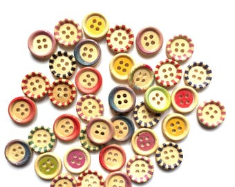 25  wood buttons 15 mm assorted colours- mixed pack