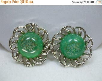 SALE 50% OFF Vintage Green Glass Cabochon Decal Silvertone Clip On Earrings