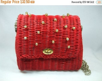 """SALE 50% OFF Vintage Red wicker purse with chain handle 8 x 8 11"""" chain drop"""