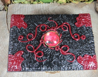 Blood Moon Tarot Box in Black and Red, Gothic  Keepsake Box, Black Jewelry Box, Witchcraft, Witch's Keepsake Box, Witches Tarot, Pagan Art