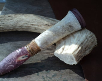 Stone Knife with a Caribou antler handle