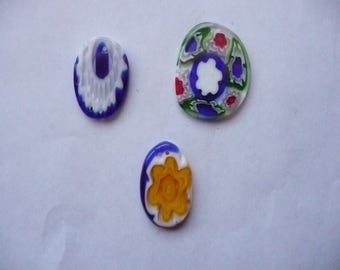 Focal, Millefiori glass multicolored, Package of 3 ovals.
