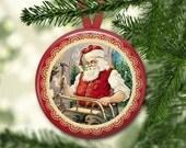 "3.5"" Santa Claus decorations- vintage christmas tree decoration- Victorian Santa ornaments for Christmas decorations- kitchen decor MA-HOL-4"