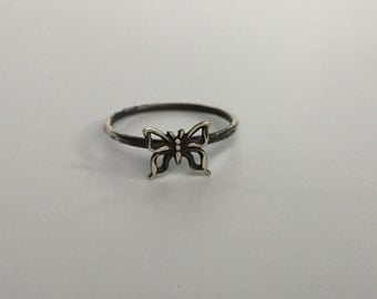 Butterfly Stacking Ring. Sterling silver stacker jewelry mix and match. Moth jewelry butterfly jewelry.