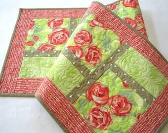 Spring Table Runner, Quilted Table Runner, FloralTable Runner, Handmade Table Runner, Home Decor, Orange Green Runner, Mother's Day Gift
