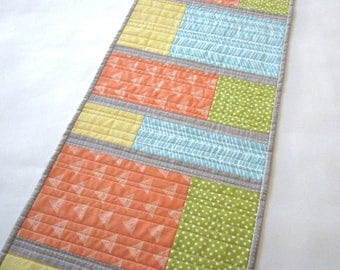 Spring Table Runner, Geometric Table Runner, Mother's Day Gift, Handmade Table Runner, Quilted Table Runner, Modern Table Runner