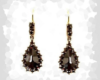 Bohemian garnet drop earrings w/14ctgold wires // ГРАНАТ 651WPK