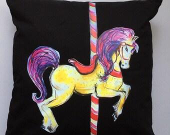 SALE - carousel horse cushion - carousel nursery - horse decorative pillow - Carousel Horse pillow - funfair home decor - circus fairground