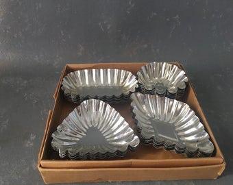 Vintage Tart Tin Set, diamond shape, soap molds, candy molds, silver metal, tartlet