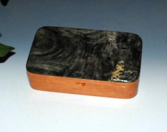 Handmade Wood Box - Buckeye Burl on Cherry-Wood Jewelry Box, Wood Stash Box ,Wooden Jewelry Box,Wood Stash Box, Treasure Box,Burl Wood Boxes