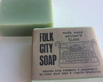 "Folk City ""Wash Away Writer's Block"" Soap - Handmade Natural Vegan Soap"