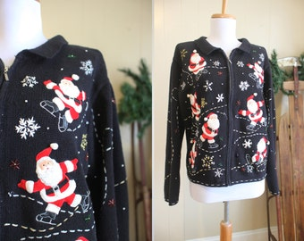 Ugly Christmas Sweater Party Vintage Holiday Cardigan Santa Applique Black L