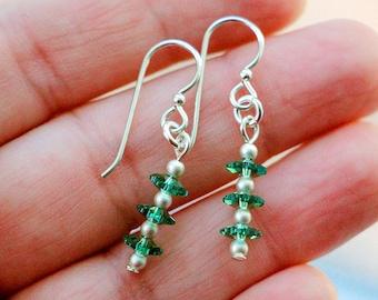 Erinite Green Margarita Floral Swarovski Crystal Earrings, Green Earrings, Sterling Silver Earrings, Dainty Modern Earrings, Gift For Girls