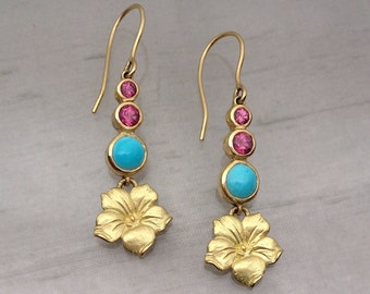 Madeira Flower Gem Earrings by Carrie Nunes Jewelry