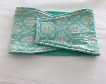 Belly Bands for Male Dogs - Belly Band - Male Dog Diapers - Male Dog Belly Band - Mint Damask - Available in all Sizes