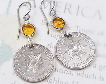 Uruguay, Vintage Coin Earrings --- A Good Omen --- Sunshine - Follow the Sun - Be a Traveler - Travel Gifts - Sunburst - Sun of May - OOAK