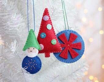 Felt Ornament, Handmade Gnome Ornament, Christmas Decor, Christmas Elf,  Hand embroidered, ready to ship, gift for kids