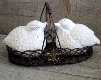 French Farmhouse Salt and Pepper Shakers French Salt and Pepper Shakers Upcycled Bird Salt and Pepper Shakers  Vintage Inspired Fleur di Lis